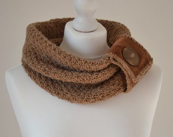 Hand-knitted brown chunky scarf/cowl with leather and button decoration