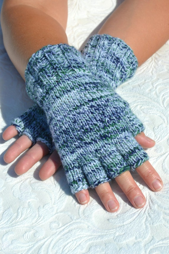 Hand-knitted half finger gloves handmade colorful winter