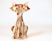 cat, mid century, figurine, ceramic, cream, pink, brown, stripes, retro, atomic, mid century modern