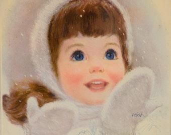 "Mid Century print, 11x14,  girl portrait, print, wall art, retro,1960s, girls room, winter scene, snowfall, pink, blue, framed, 16""x13"""