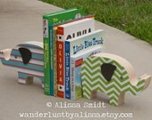Custom Designed Wooden Elephant Bookends - Custom Created to Coordinate with Your Bedding or Nursery Letters (blue, orange, green, chevron)