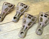 4 Old Rusty Cast Iron Stove Feet