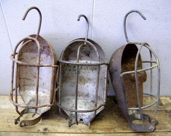 3 Rusty Old Trouble Light Lamp Wire Cage Covers Industrial Steampunk Altered Art
