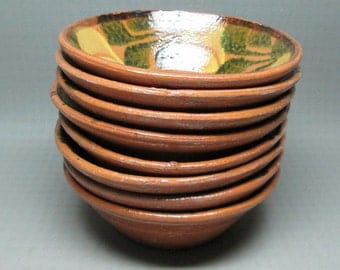 a set of 8 vintage pottery bowls from mexico primitive / folk art
