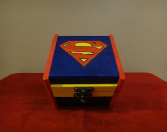Custom Painted Wooden Keepsake Box - Superman