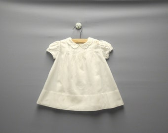 Vintage Baby Clothes, 1940's White Cotton Embroidered Baby Girl Dress Set, Vintage Baby Dress, White Baby Dress, Size 6 Months