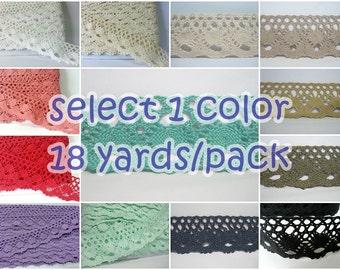 1 Pack (18 yards) Wide Lace Trim 3.8 cm-Wide, Crochet lace trim, Wide Lace, Cotton Trim, Cotton Crochet lace, Wholesale lace, Wholesale trim