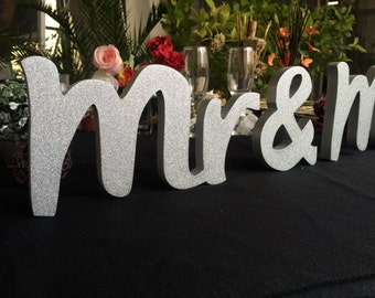 Custom colors. Wedding table signs. Mr & Mrs gold. Mr and Mrs silver. Mr and Mrs champagne, Mr and Mrs glitter. Wedding signs. Mrs and Mrs