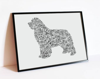 "The Newfoundland - The story of the Newfie inside the silouhette - breed traits  - Hand signed - 8""x12"" or 12""x16"" - A4 - A3 - terre neuve"