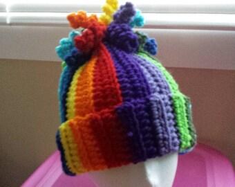 Rainbow Curls Beanie