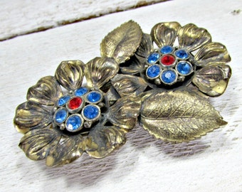 Antique Art Deco Dress Clip, Red Blue Rhinestone Dress Clip, Oxidized Brass Flower Dress Clip, Verdigris Patina, 1930s Art Nouveau Jewelry