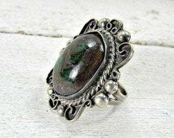 Antique MEXICAN Sterling Silver Ring, Large Silver Ring, Natural Purple Green Stone Ring, Statement Ring, 1930s Antique Fine Estate Jewelry