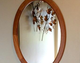 Pedersen and Hansen Denmark - Oval Teak Hanging Wall Mirror - Danish Modern