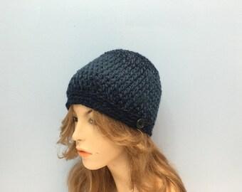 SALE Crochet beanie Unisex Hat - DENIM/NAVY