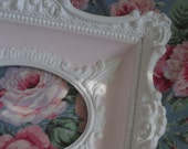 Gorgeous Baroque Vintage Plaster Picture Frame - French Regency Style - Open Frame in Linen White & Petal Pink