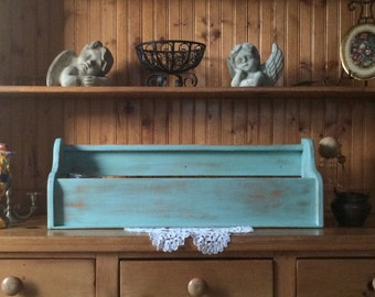 Rustic Farmhouse Storage - Shabby Chic Large Desk Top Storage File - Kitchen Organizer in Distressed Aqua