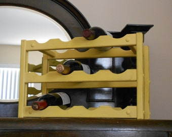 Rustic Shabby Chic  12 Bottle Wine Rack - French Country Distressed Yellow