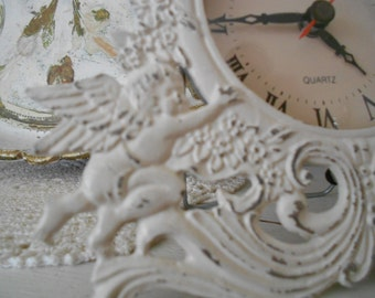 Vintage Shabby Chic Ornate Metal Table Top Cherub Clock - Easel Back Baroque Angel Clock - Distressed in Antique White