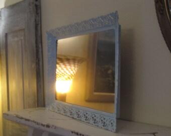 Large Shabby Chic  Vanity Mirror -  Vintage Regency Filigree Vanity Top / Wall Decor -  Distressed in Beach Sky Blue