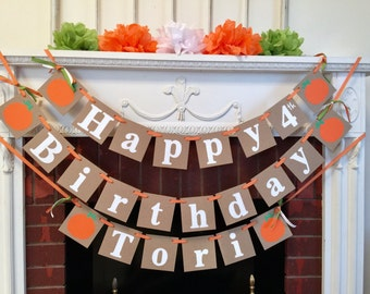 Little Pumpkin Birthday Banner - Fall BIRTHDAY Decorations - Autumn birthday party decor - Halloween birthday banner with name-