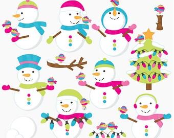 christmas clipart snowman clip art  - Frosty Friends Digital Clipart