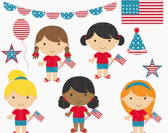 4th of july clipart clip art american america - 4th of July Girls Digital Clipart