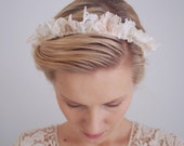 Lace halo / Bridal crown / Bridal lace halo / Hair adornment / Bohemian wedding / Wedding headband / Satin ribbons