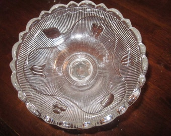Antique Rare 1850 Large EAPG Early Bellflower Flint Glass ribbed floral open compote with scalloped rim charming,tableware,tabletop