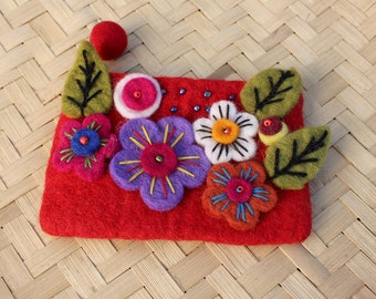 "Nepalese Purple Felt Coin Purse knitted with Sunflower & Beads 4x6"" RED FP-SB14"