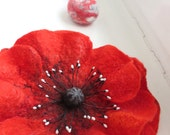 Large Red Poppy brooch. Felted wool flower brooch pin corsage flower felt poppy, scarlet red and black. Statement accessory.