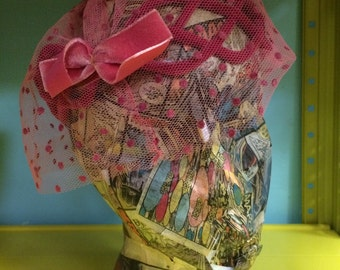Beautiful pink net veil vintage hat