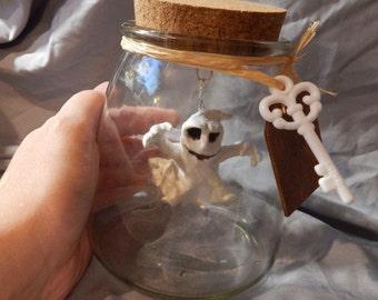 Pre-busted Ghost in a bottle pendulm art bottle sculpture Halloween spooky decor Haunted jar