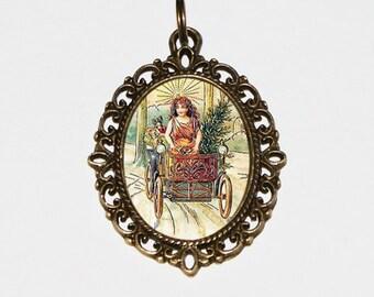Christmas Angel Necklace, Christmas Jewelry, Christmas Tree, Angel Jewelry, Christmas Car, Angel Driving, Oval Pendant