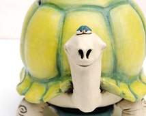 Dennis the Turtle Coin Bank for a Jungle Themed Nursery or Kids Room