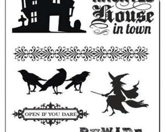 HAUNTED HALLOWEEN Stamp and Stencil Stamp Set by Hampton Art