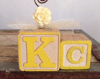 Personalized Vintage Wire photo holder picture frame KC alphabet block owl bead woodland creatures