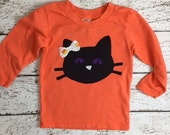 Girl's Halloween Shirt Black cat kitten Childrens Halloween Tee candy corn black and orange available for baby toddler children