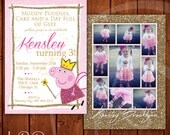 Peppa Pig Invitation Princess Gold and Pink