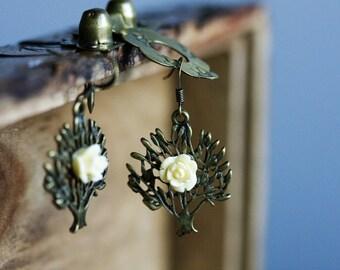 Autumn Tree Flower Earrings White Flower Tree Earrings Nature Inspired Tree Jewelry Fall Accessory - E314