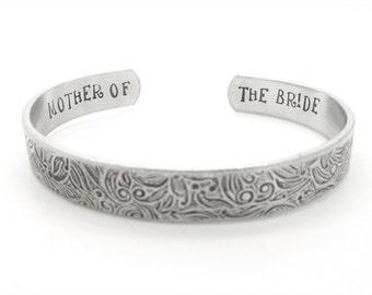mother of the bride gift, wedding party, jewelry, gift, mom bracelet, floral bracelet, custom stamped, rustic, boho, elegant wedding