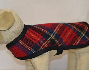 Wool Dog Coat - Red Royal Stewart Plaid Dog Coat Jacket Sweater - Warm Dog Coat - wool dog jacket wool dog sweater - scotty scottie dog