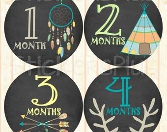 Baby Boy Month Stickers Monthly Baby Stickers, Milestone Baby Month Stickers, Chalkboard Chalk Tribal Arrow DreamCatcher Teepee Deer Antler