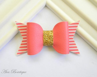 Coral Bow Hair Clip - Bow Hair Clip - Glitter Bow Hair Clip - Coral Bow Clippie  - Girls Bow Hair Clip - Baby Faux Leather Bow