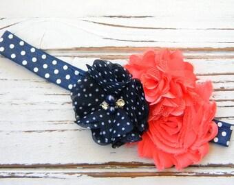 Navy and Coral Shabby Chic Headband - Baby Chiffon Headband - Shabby Chic Headband - Baby Aqua Headband - Baby Coral Headband