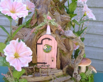 Small appx 1:24 scale OOAK Pink Fairy House dollhouse Driftwood by J. McLaughlin