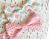 Easter Photography Prop for boys, Boys easter outfit, pastel bow tie, pink and mint tie, father and son ties, easter bow tie, easter bowties