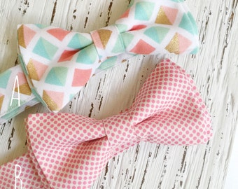 Boys easter outfit, boys baptism outfit, peach and mint, pink and mint tie, father and son ties, easter bow tie, mint and gold
