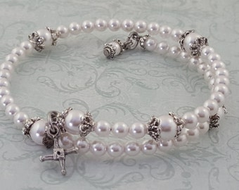 Pearl Rosary Bracelet, St. Brigid Cross, Swarovski Crystal Pearls, Strong Stainless Steel, Five Decade, Handcrafted, Wrapped Rosary Bracelet