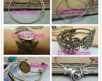 5pcs 70mm expandable wire bangle bracelet for charms. Adjustable, For stacking, charm bracelets. Bracelet blanks