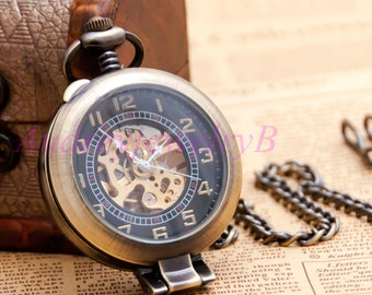 1PCS Vintage Magnifiers Pocket Watch Mechanical Watches With Chain Necklace Men Skeleton Watch groomsmen gift friends Valentine's Day